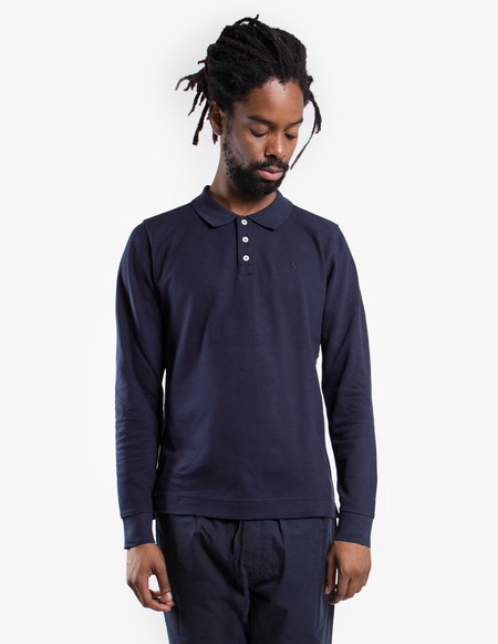 Norse Projects Theis Pique Long Sleeve - Dark Navy