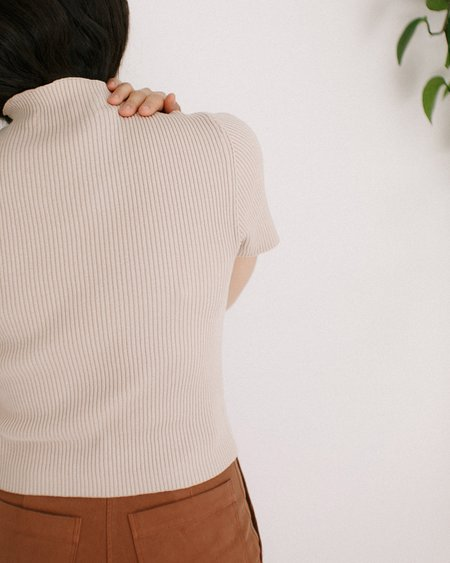 7115 by Szeki Cotton Mock Neck Fitted Ribbed Tee - Beige