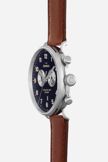 Shinola Canfield 43mm Watch - Midnight Blue/Cognac