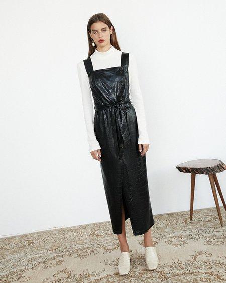 Nanushka ZORA Wrap dress - Black croc pattern