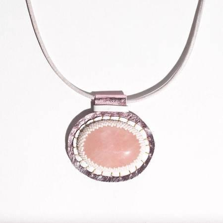 Robin Mollicone Carina Necklace with Rhodonite - Rose Quartz