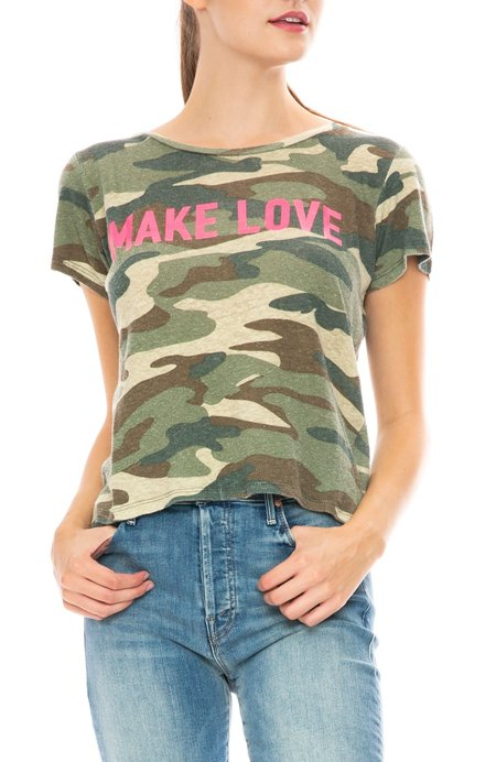 Mother Denim Itty Bitty Sinful Make Love T-Shirt - Camo