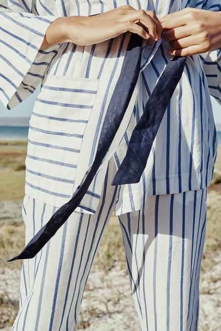 Karu Striped Ikat Kimono Pajama Top - Stripe