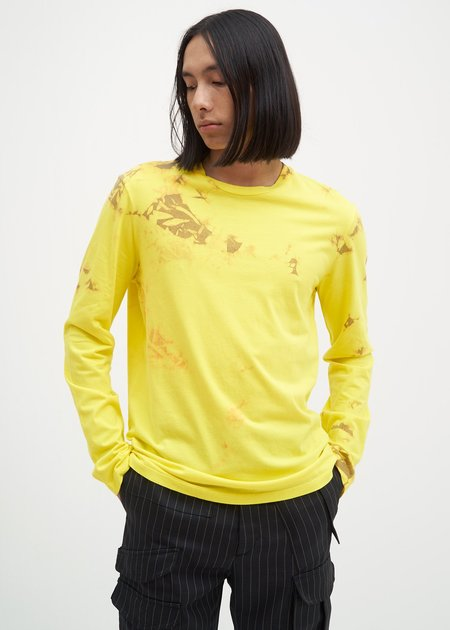 Helmut Lang Tie Dye Dart Back Long Sleeve T-Shirt - Yellow