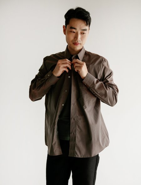 Lemaire Straight Collar Shirt - Coffee