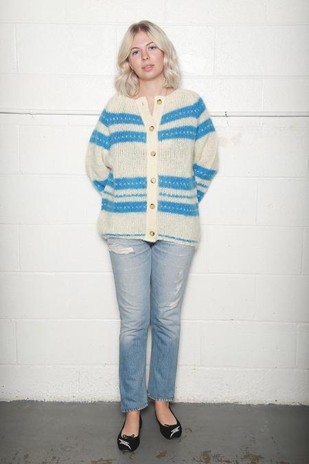 Alexa Chung Stripe Cardigan - White/Blue