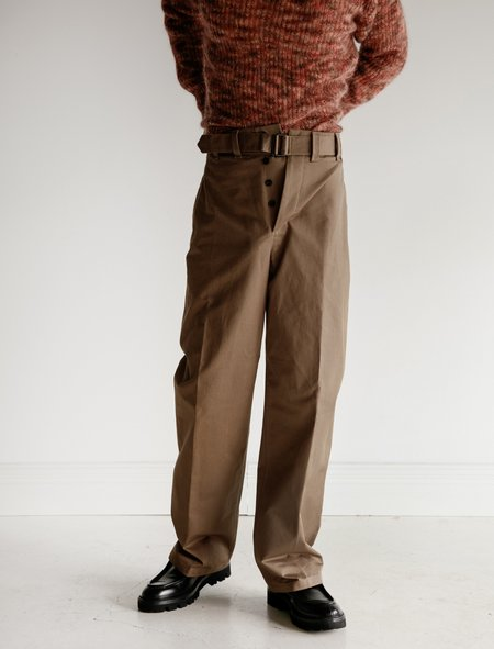 Lemaire Water Resistant Cotton Belted Pants - Khaki