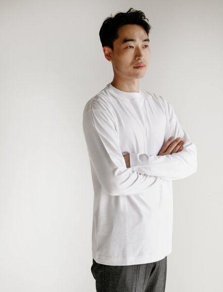 Sunspel Long Sleeve Mock Turtle - White