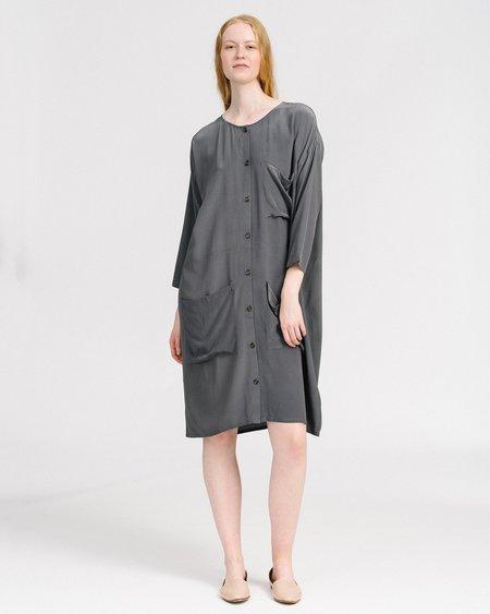 Revisited Matters Silk Workdress - Grey