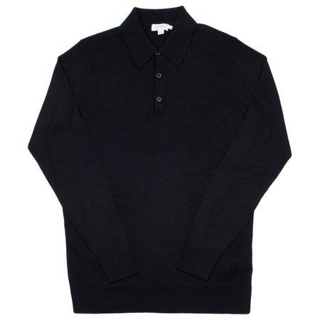 Sunspel Long Sleeve Merino Polo - Black