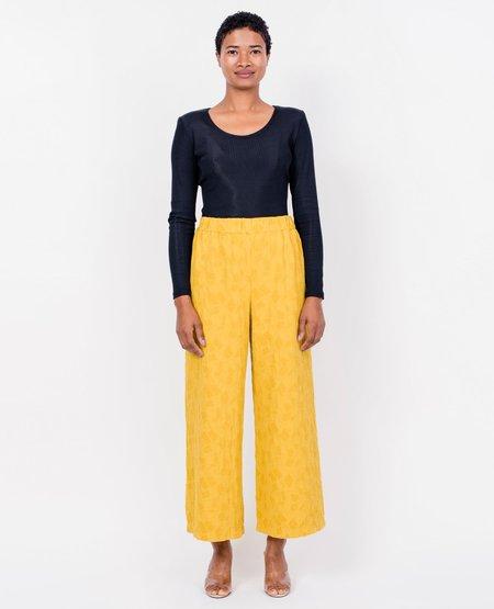 Black Crane Jacquard Pants - Gold