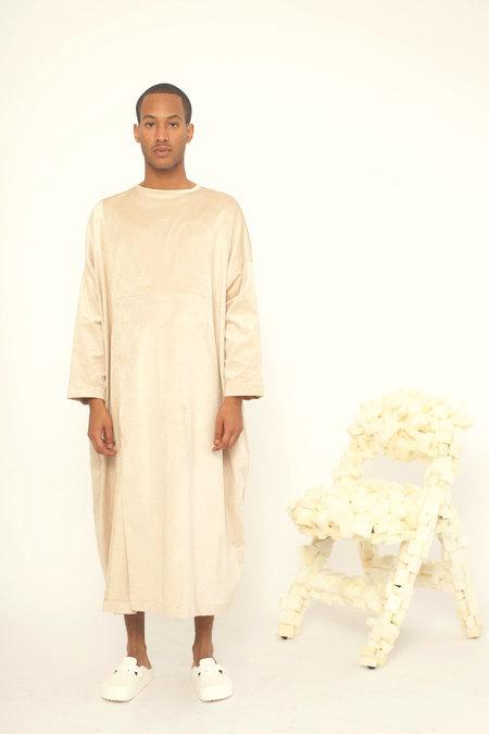 323 PATCHWORK DRESS - BEIGE VELVET