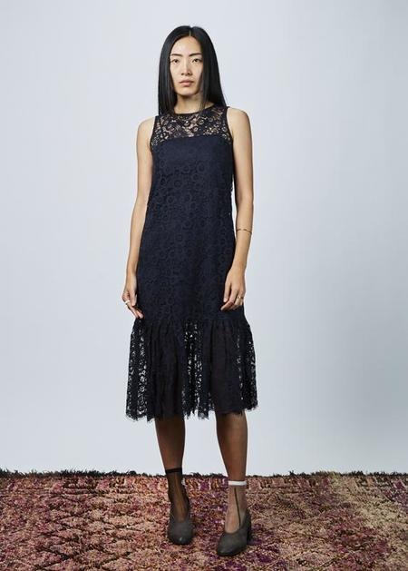Sara Lanzi Sleeveless Lace Dress with Slip - navy