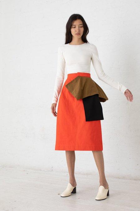 Nancy Stella Soto Peplum Denim Skirt - Vermillion