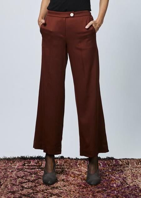 Demoo High Rise Wool Trouser - Maroon