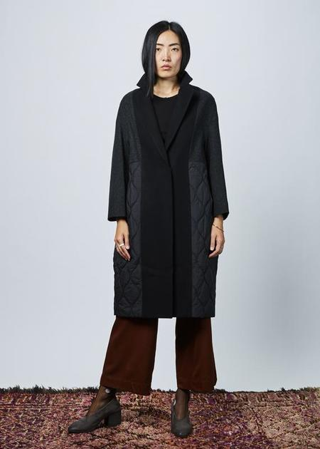 Demoo Quilted Wool Overcoat - Black/Charcoal