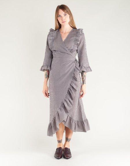 Ganni Charron Wrap Dress - Ganache