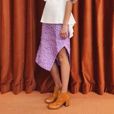 Aalto Long Structured Pencil Skirt with Slit - Lilac