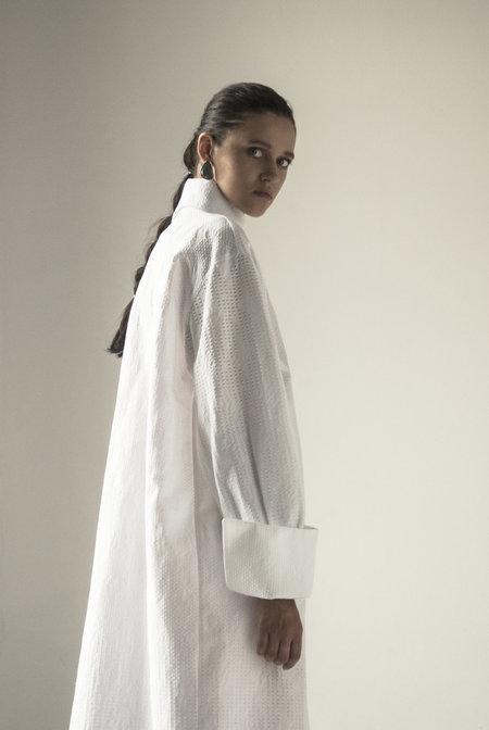 K M by L A N G E Architectural Long Dress - White