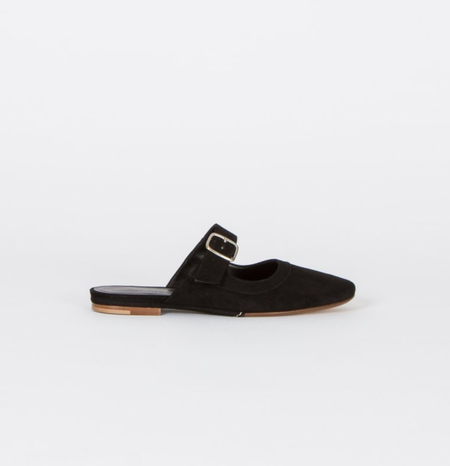 Creatures of Comfort Lucca Slip On Lamb Suede Shoe - BLACK