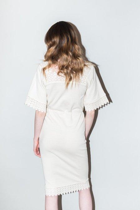 Callahan Crochet Belted Dress - CREME