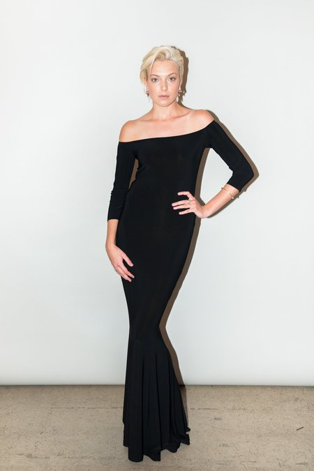 Norma Kamali Fishtail Gown - BLACK