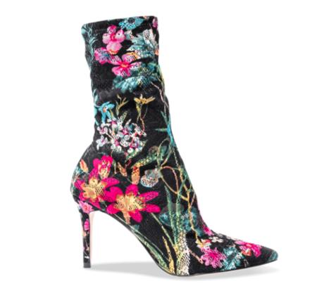 Black Suede Floral Sock Bootie - FLORAL