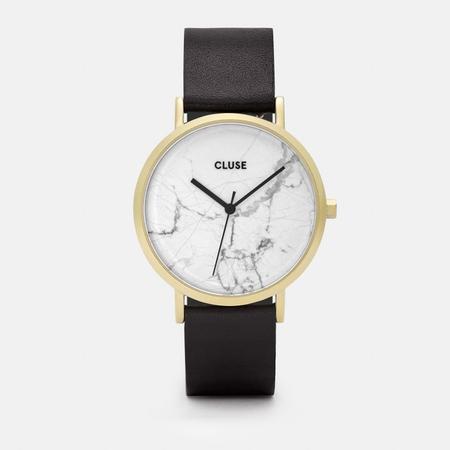 Cluse La Roche Watch - White Marble/Black