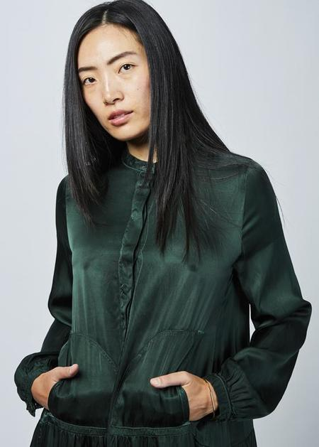 Hannes Roether Town Half Button Dress - Emerald Green