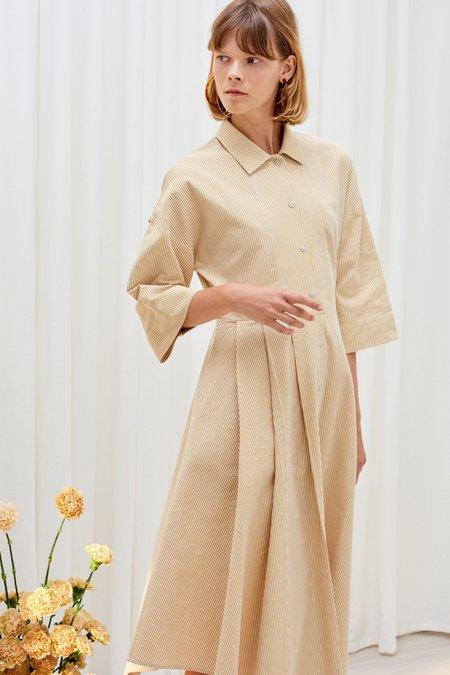 Kowtow Casa Shirt Dress - Mustard Stripe