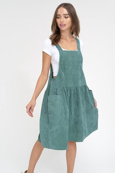 Listicle Animal Crackers In My Soup Corduroy Overall Dress - Hunter Green