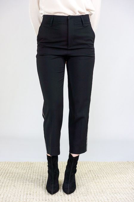 Giada Forte Side Ribbon Tape Pants - Black/White