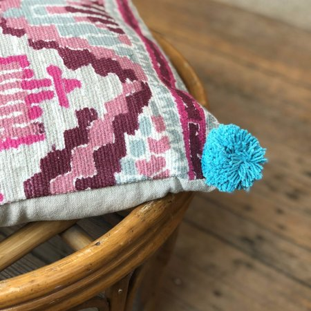 Meus Woven Market Pompom Pillow - Teal Pink