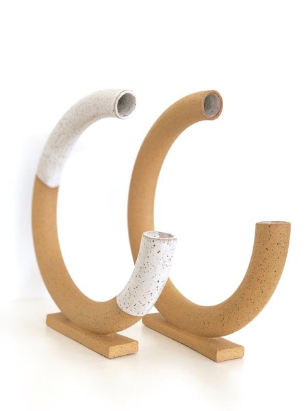 MiMi Ceramics Circle Vase - Tan/White