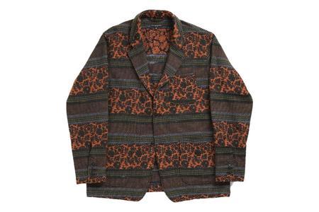 Engineered Garments Loiter Jacket - Black Rust Ethnic Floral Jacquard