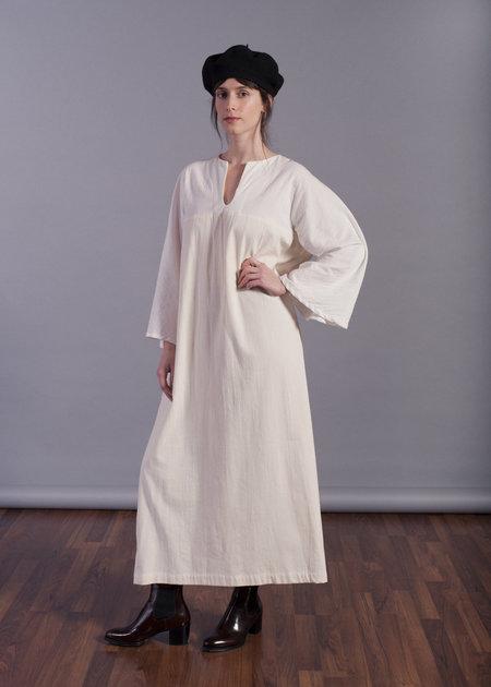 Sunja Link Maxi Mixed Dress with Obi/belt - Ivory