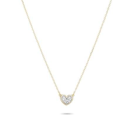 Adina Reyter Super Tiny Pave Folded Heart Necklace