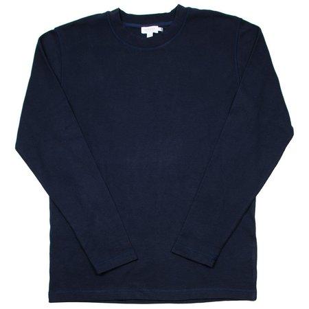 Sunspel Long Sleeve Cellulock T-shirt - Navy