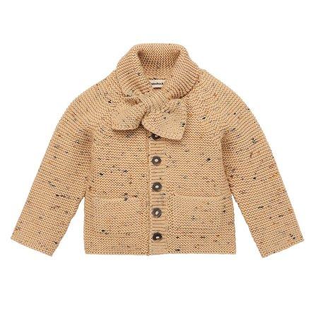 Kids  Misha & Puff Scout Cardigan - Camel Confetti Stripe