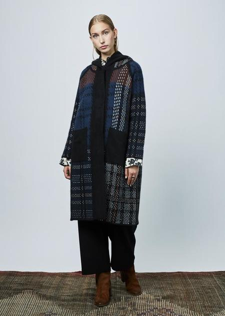 Demoo Hooded Knit Wool Coat - Black/Multi