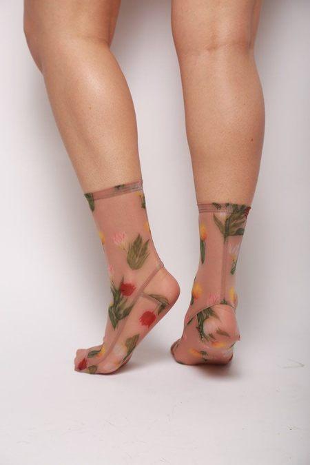 darner Flower Mesh Socks - Caramel Tulips
