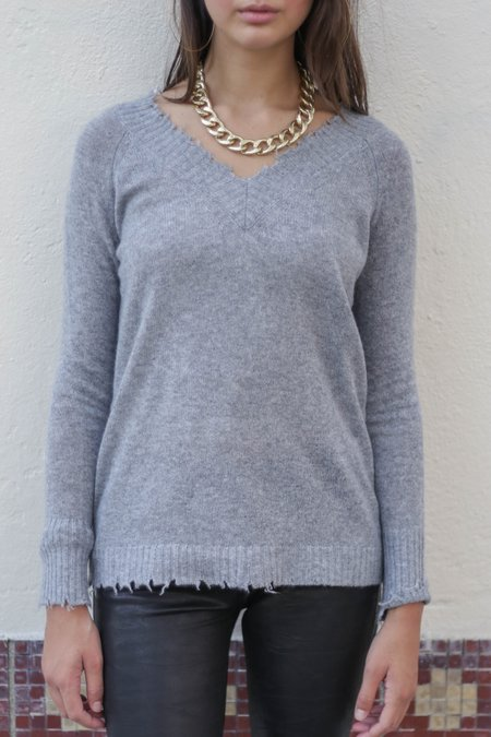 Minnie Rose Frayed Edge Double V Pullover Sweater - Silver Grey