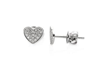 EF Collection Diamond Heart Stud Earring - 14k White Gold