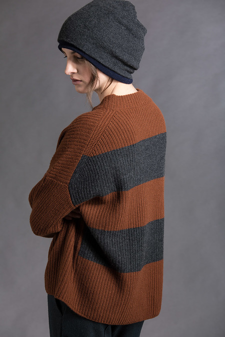 Paychi Guh Cashmere Relaxed Pullover - Vicuna/Charcoal
