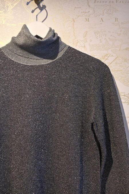 Joseph High Neck Lurex Knit - Silver Merino