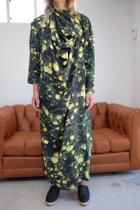 Anntian Silk Dress - YELLOW ROSE PRINT