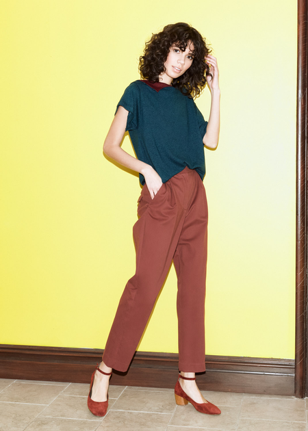 Chistine Alcalay Wool Twill Pleated Trouser