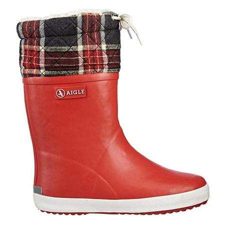 KIDS Aigle Child Giboulee Lined Winter Boot - Red With Plaid