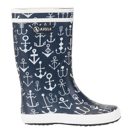 KIDS Aigle Child Lolly Pop Rubber Boot - Dark Navy With Anchors