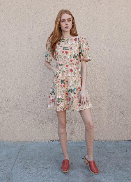 Samantha Pleet Bouquet Dress - PEACH BLOSSOM